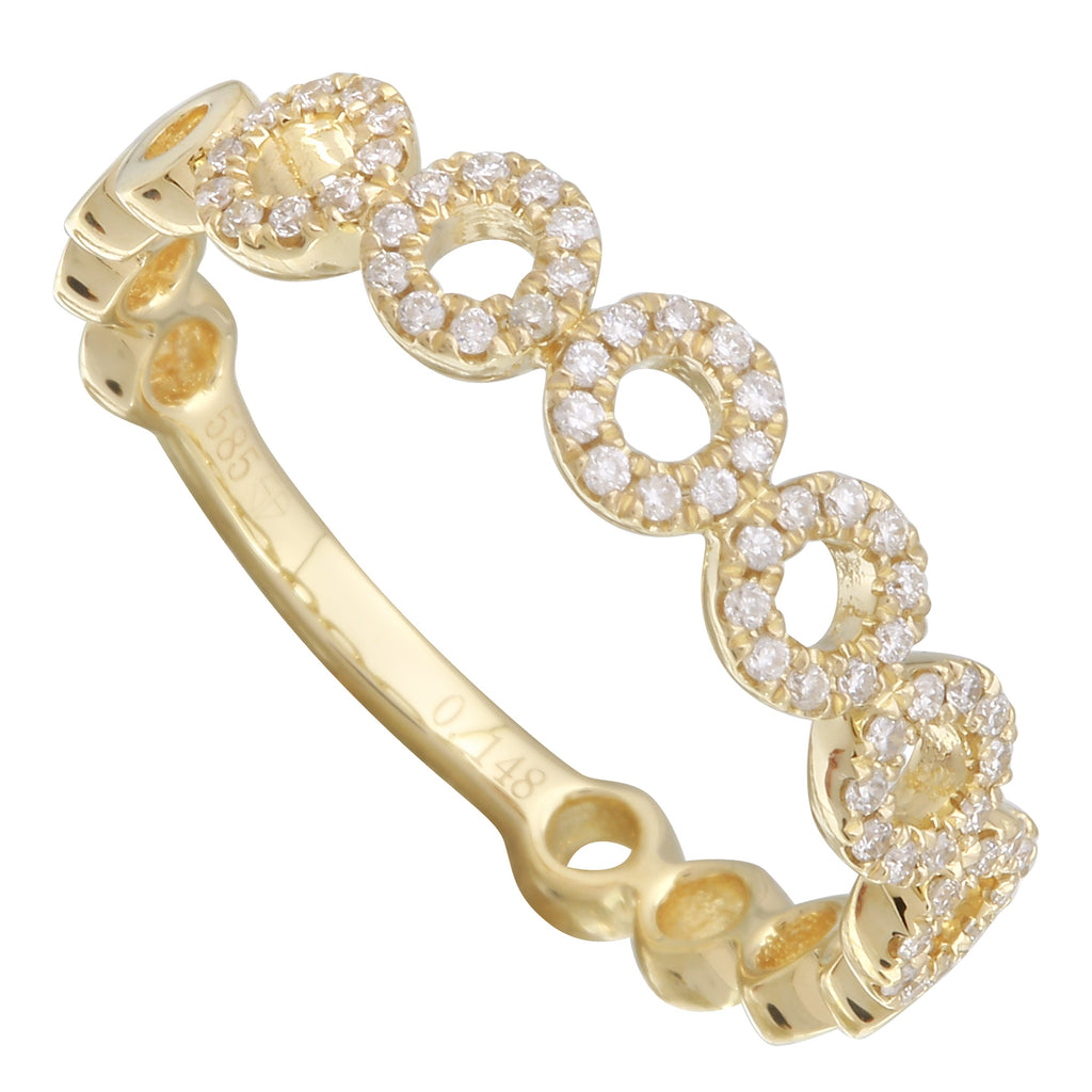14k Yellow Gold Diamond Pave Open Circles Ring (1/10 cttw, H-I Color, I1-I2 Clarity)