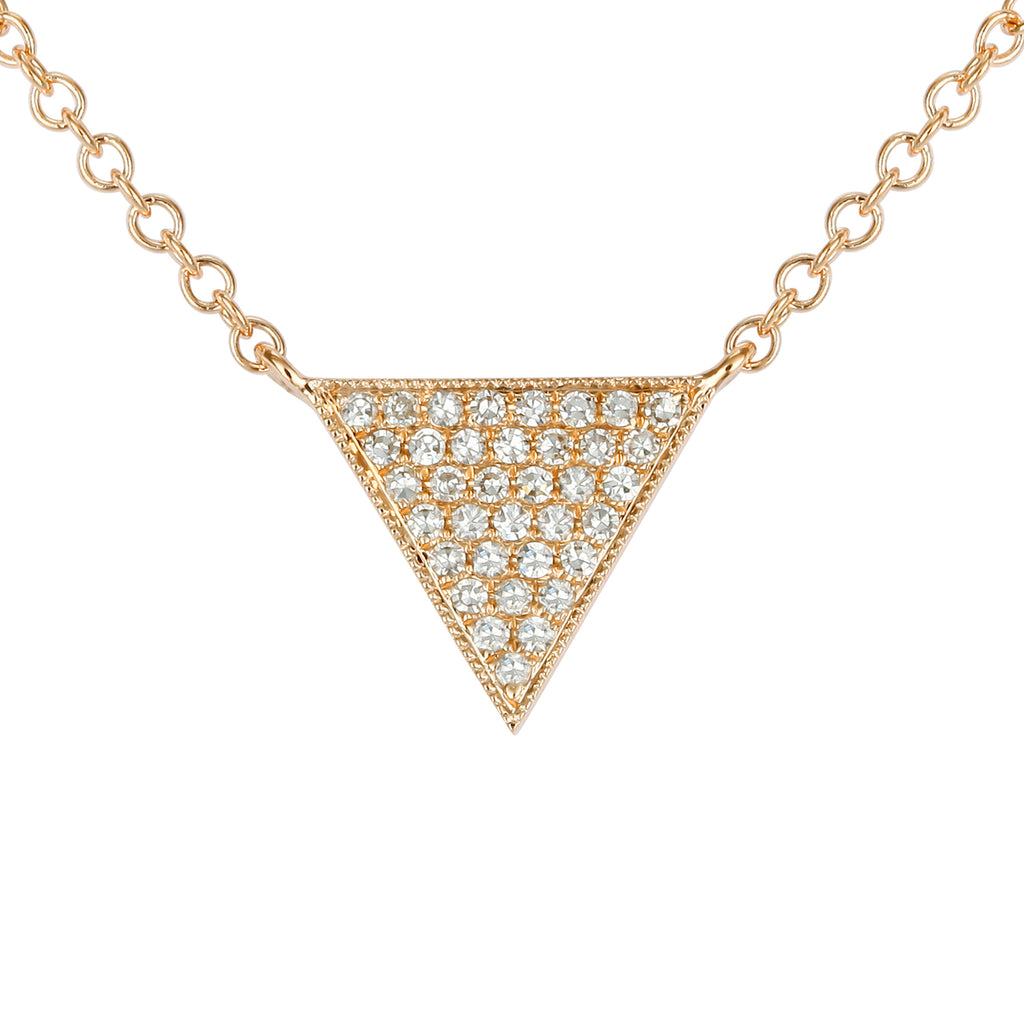 14k Yellow Gold Diamond Floating Triangle Pendant Necklace (1/20 cttw), 16-18