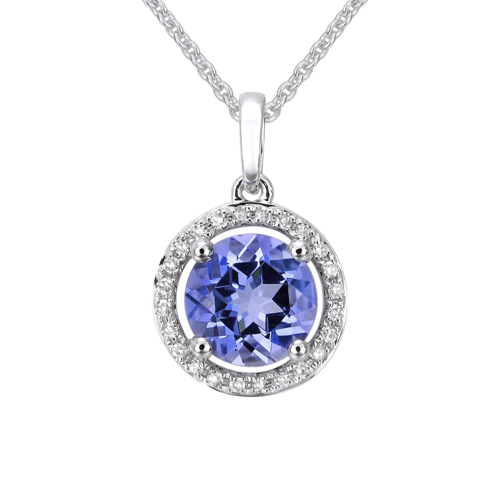 14k White Gold Diamond Tanzanite Halo Pendant Necklace (0.07 cttw, H-I Color, SI2-I1 Clarity), 16""