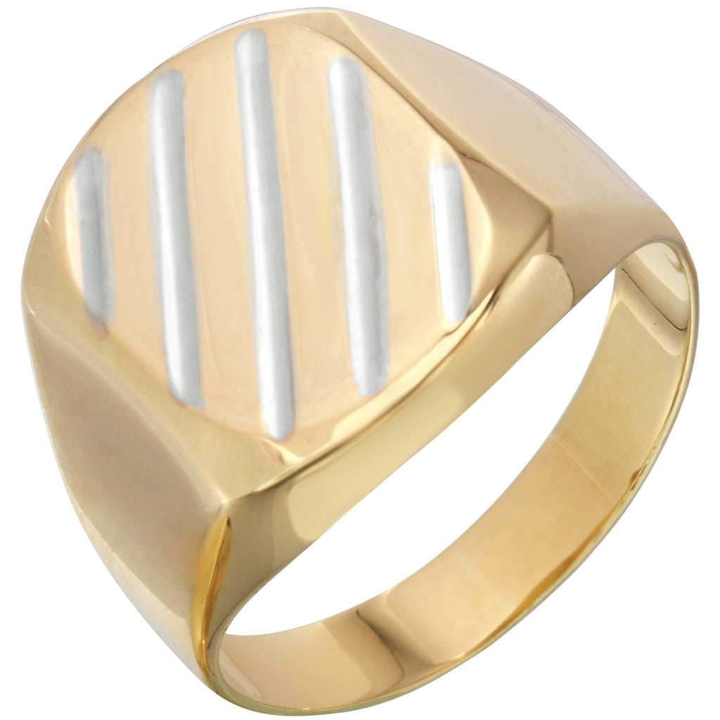 14k Two-Tone Gold Diagonal Squared Men's Ring, Size 10