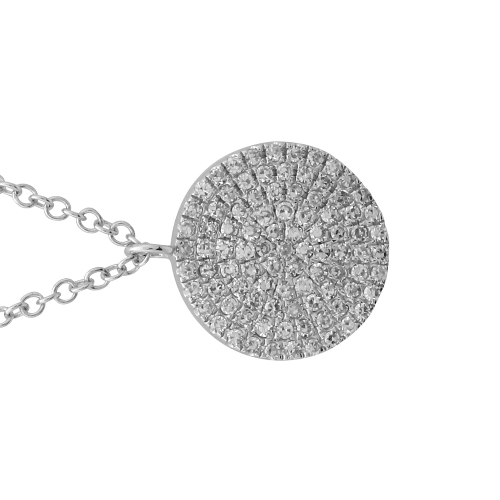 "14k White Gold Diamond Pave Disc Pendant Necklace (1/5 cttw, H-I Color, I1-I2 Clarity), 16+2"" Extender"