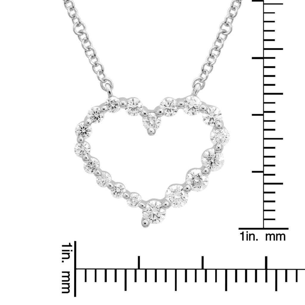 14k White Gold Diamond Open Heart Pendant Necklace (3/8 carat), 16-18""