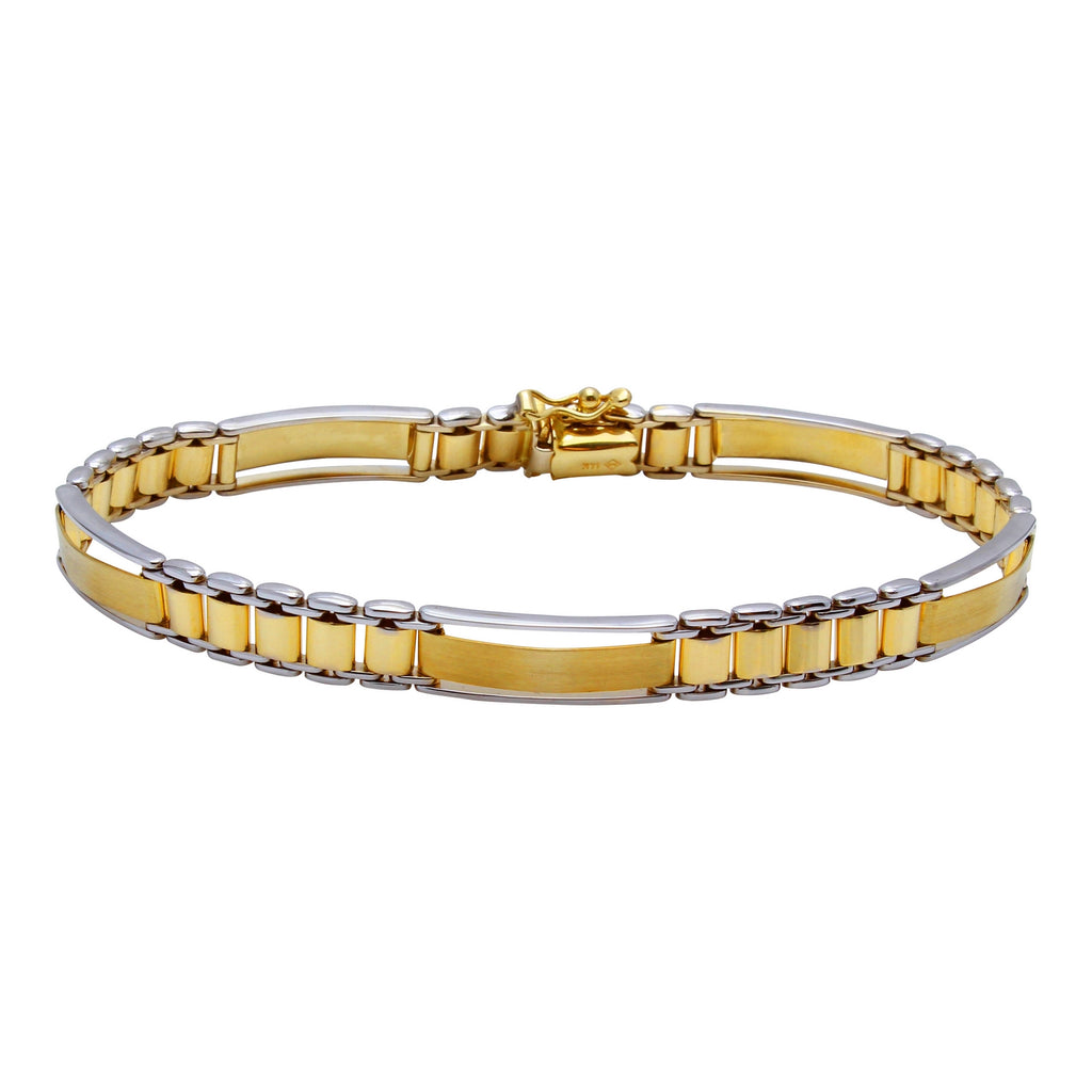 Men's 14k Two-Tone Gold 7mm Link Bracelet, 8.25""
