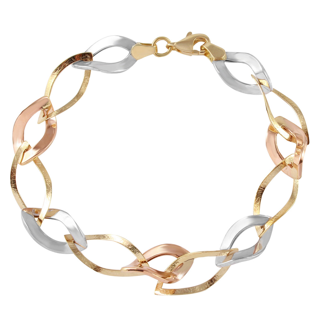 14k Tri-Color Gold Link Bracelet, 7.5""