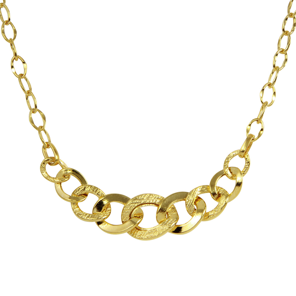 Women's 14k Yellow Gold Italian Hollow Graduated Cuban Chain Necklace, 17""