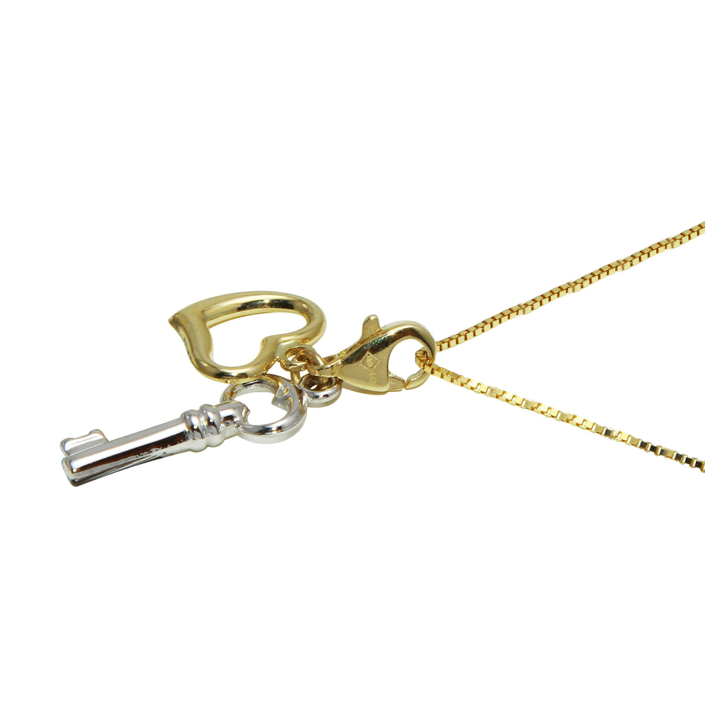14k Two-Tone Gold Key & Heart Charms Clasp Pendant Necklace, 18""