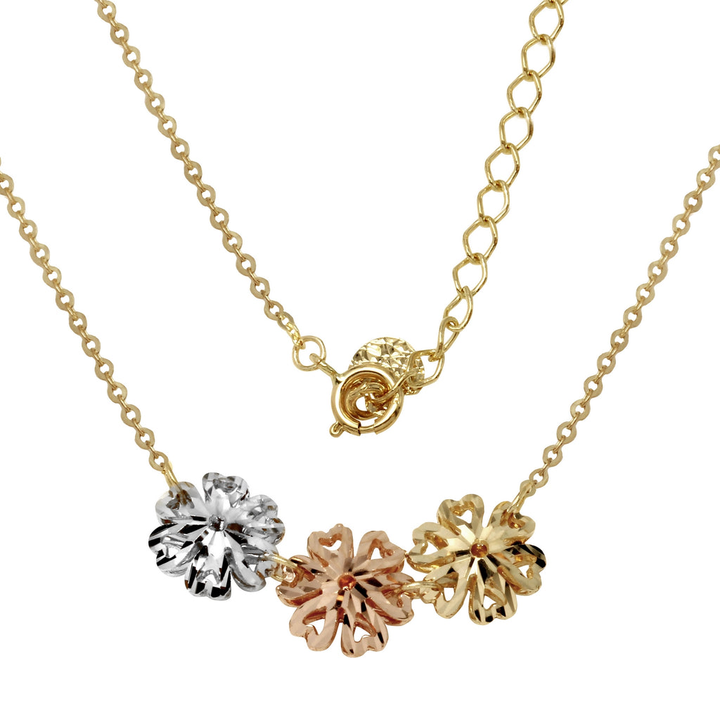 "14k Tri-Color Gold Triple Heart Design Flowers Necklace, Adjustable 16"" to 18"""