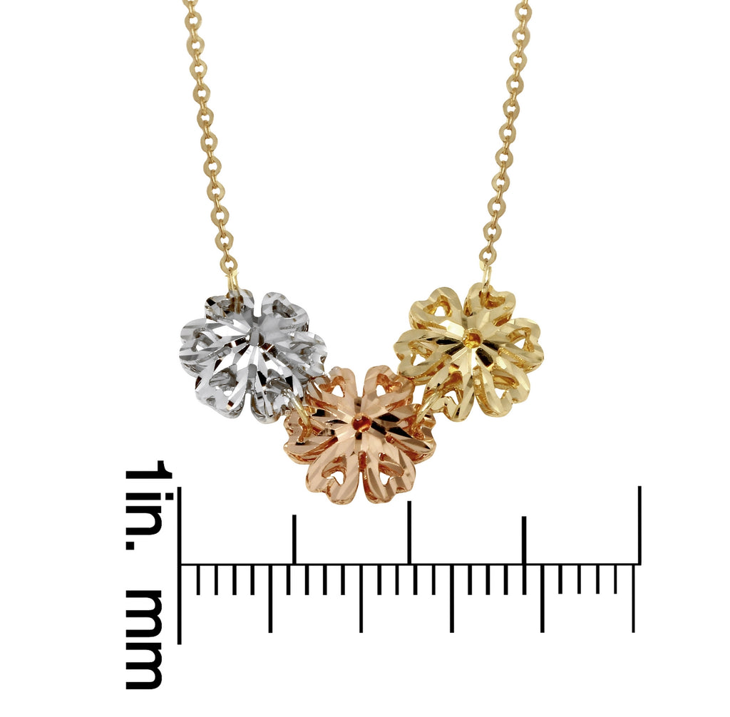 "14k Tri-Color Gold Triple Heart Design Flowers Necklace, 16+2"" Extender"
