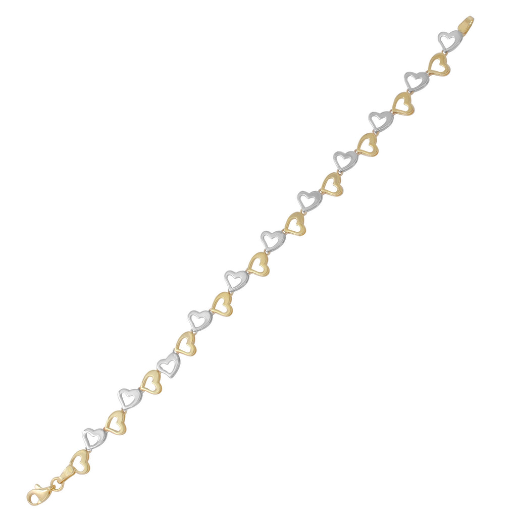 14k Two-Tone Gold High Polished Alternating Hearts Bracelet, 7.25""
