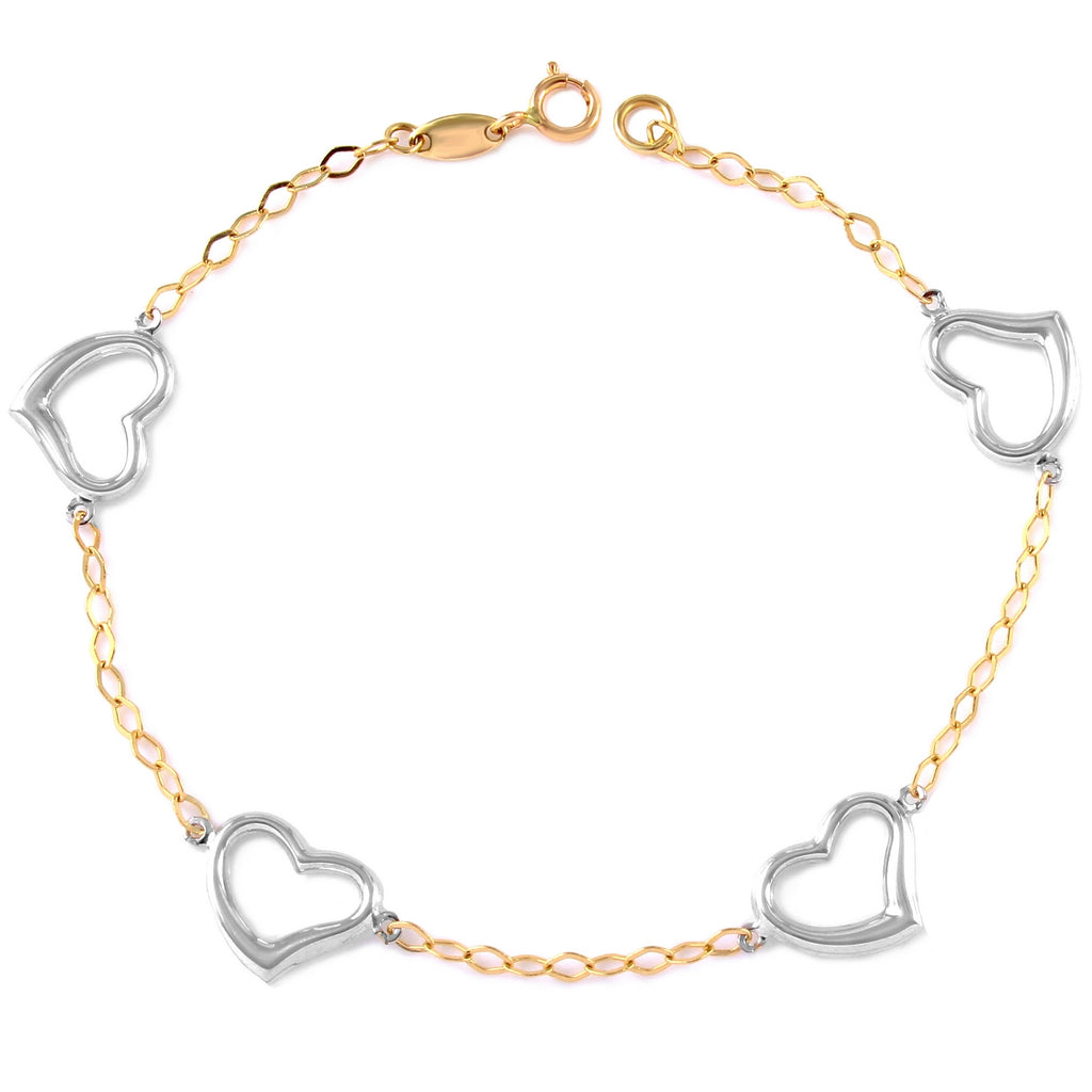 14k Two-Tone Gold Rolo Heart Charm Bracelet, 7.25""