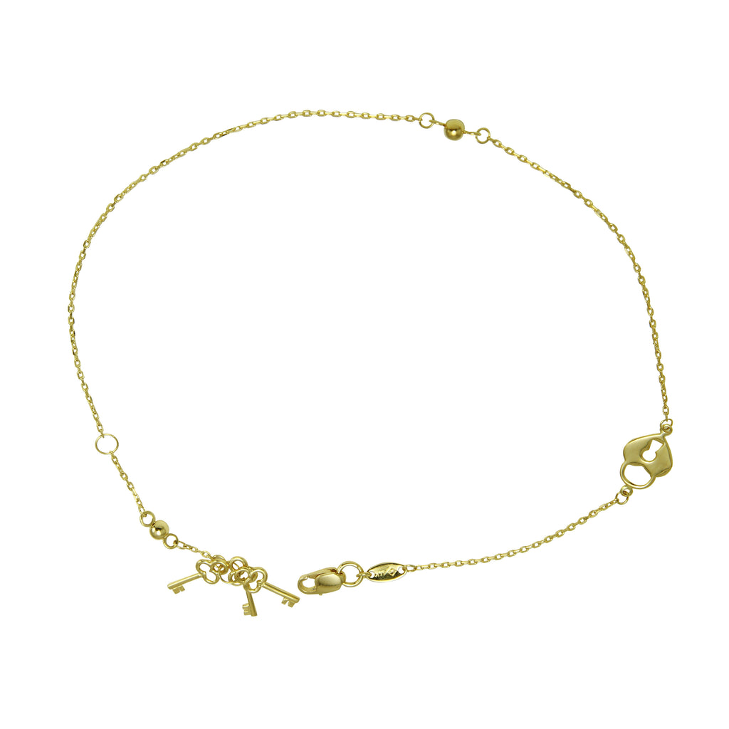 "Women's 14k Yellow Gold Padlock Keys Charm Anklet, 9+1"" Extender"