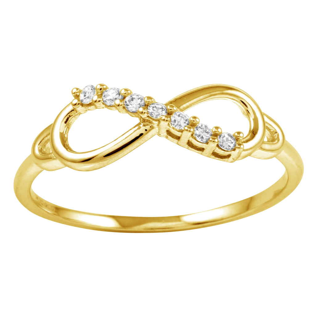 14k Gold CZ Round Brilliant Infinity Symbol Ring - Bee Jewels