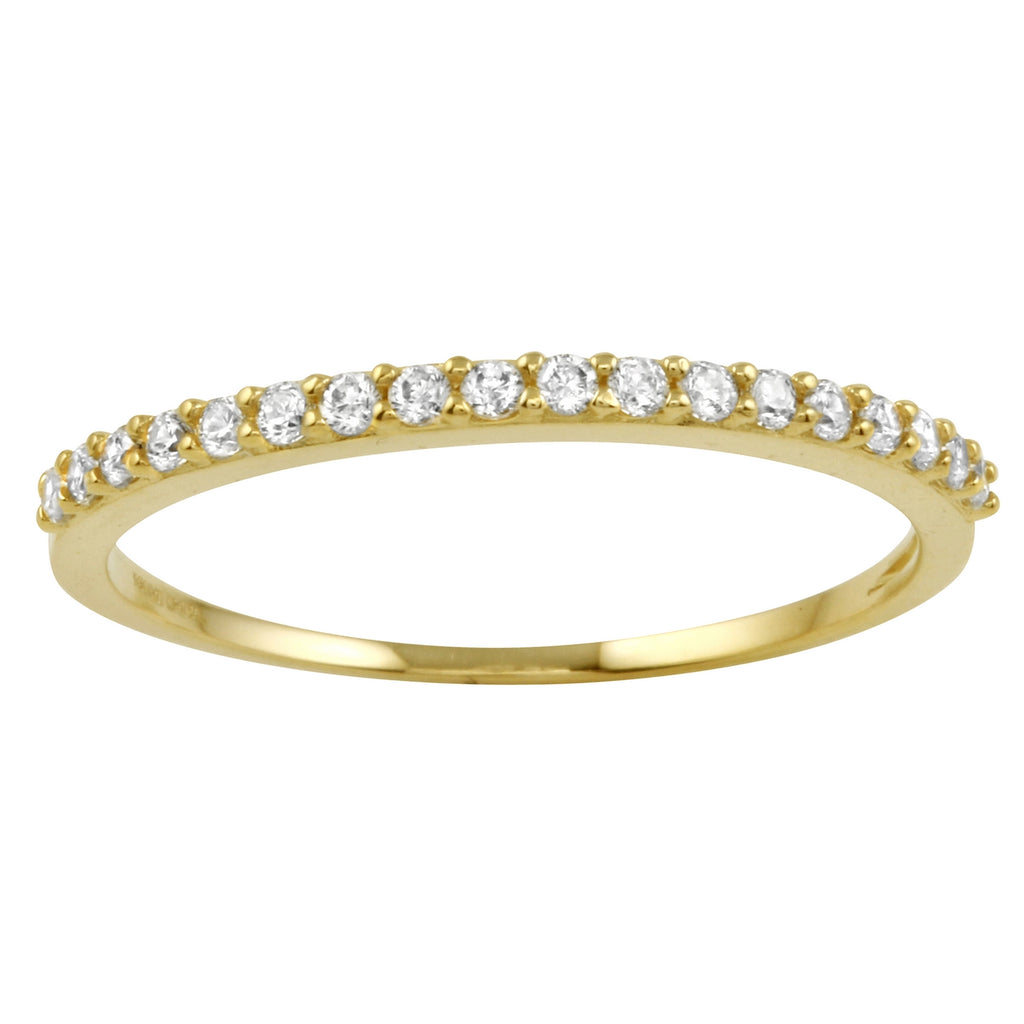 14k Gold CZ Round Brilliant Cut Channel Wedding Ring - Bee Jewels
