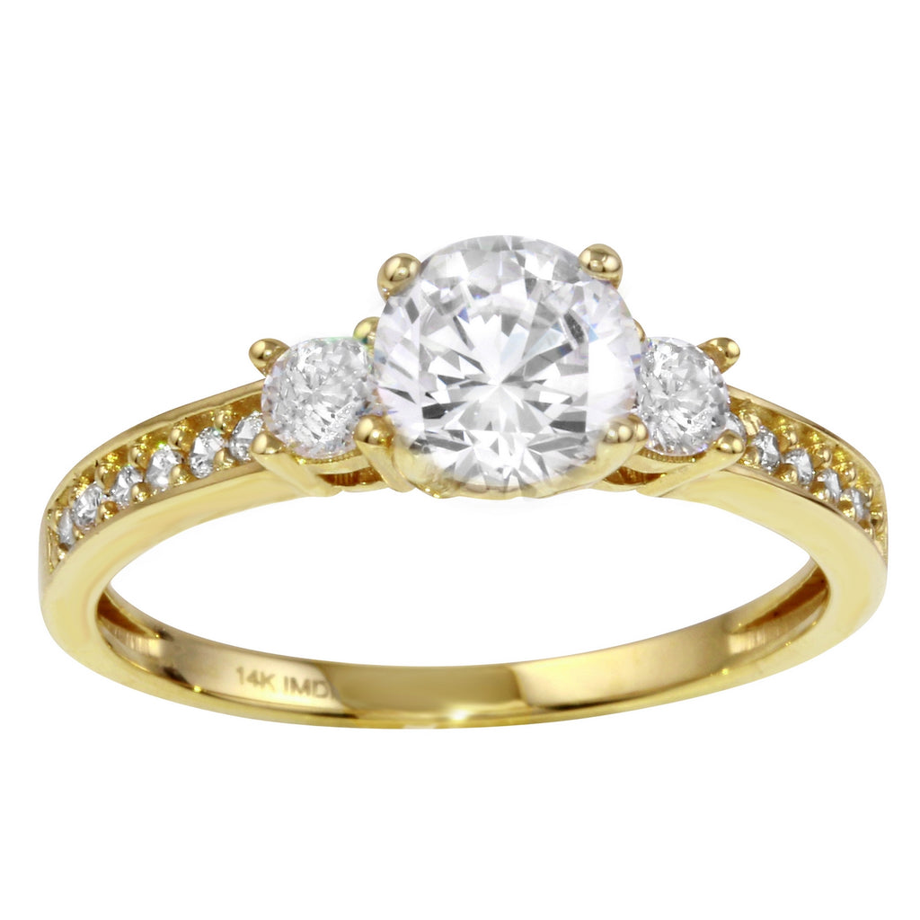 14k Gold CZ Engagement Ring - Bee Jewels