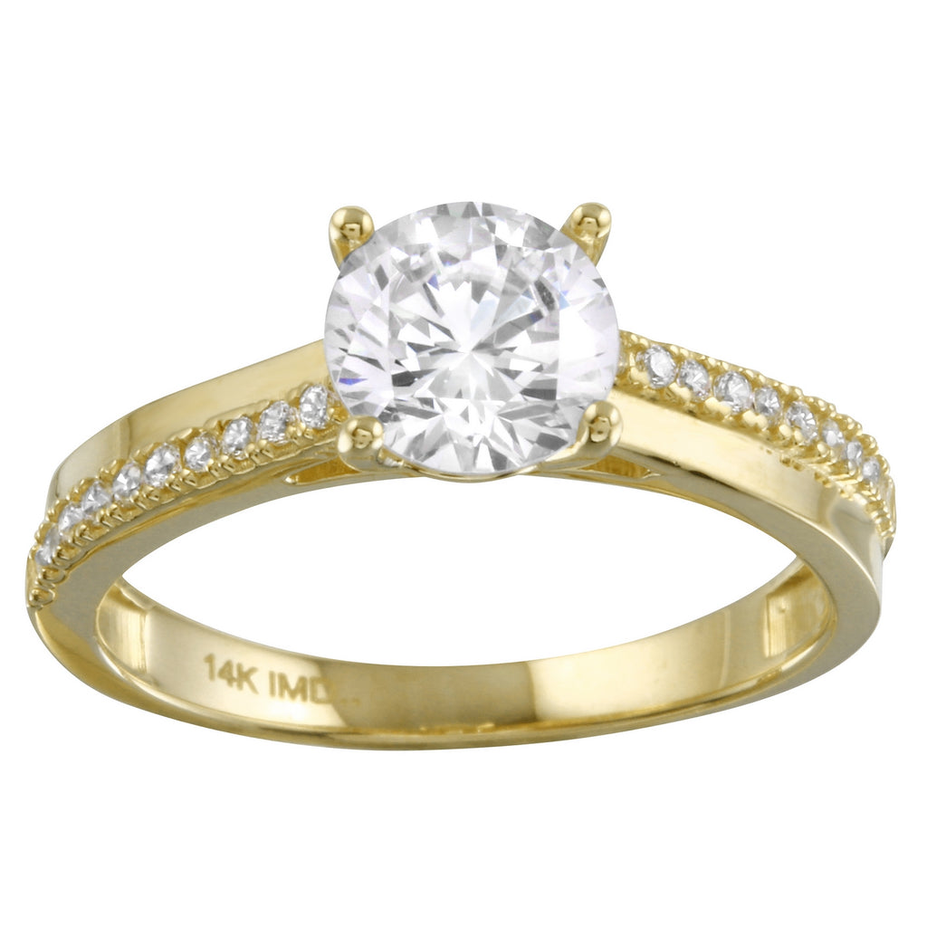 14k Gold CZ Bridal Ring - Bee Jewels