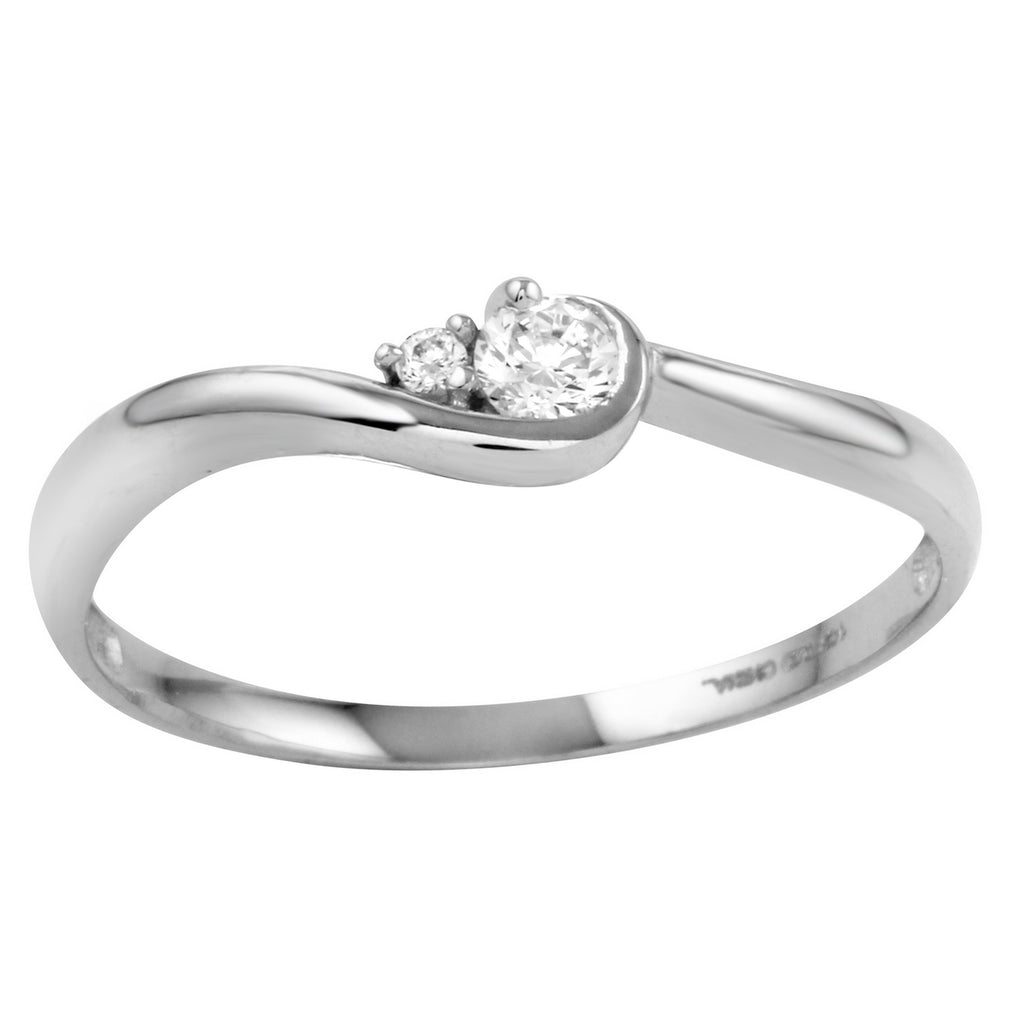 14k Gold CZ Round Brilliant Cut Solitaire Promise Engagement Ring - Bee Jewels