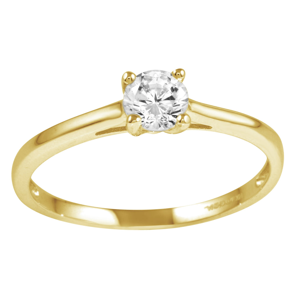 14k Gold CZ Round Brilliant Classic Solitaire Engagement Ring - Bee Jewels