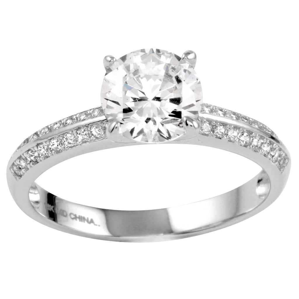 14k Gold CZ Round Brilliant Double Channel Engagement Ring