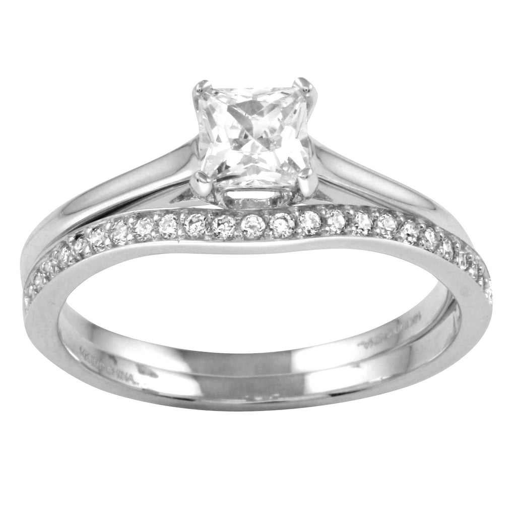 14k Gold CZ Round Brilliant Solitaire 2-Piece Set Engagement Ring - Bee Jewels