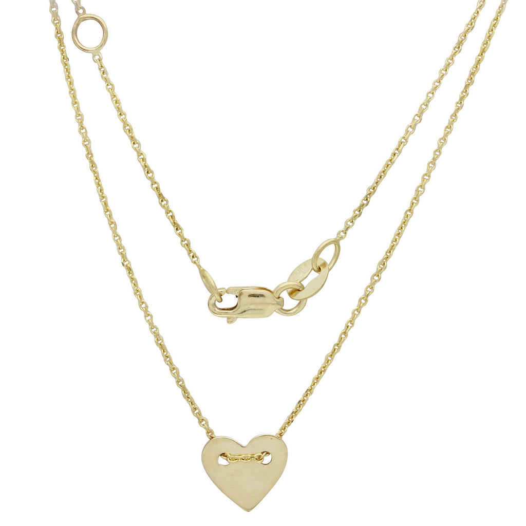 14K Yellow Gold Italian Small Heart Disc Engrave-able Necklace, 16 to 17""