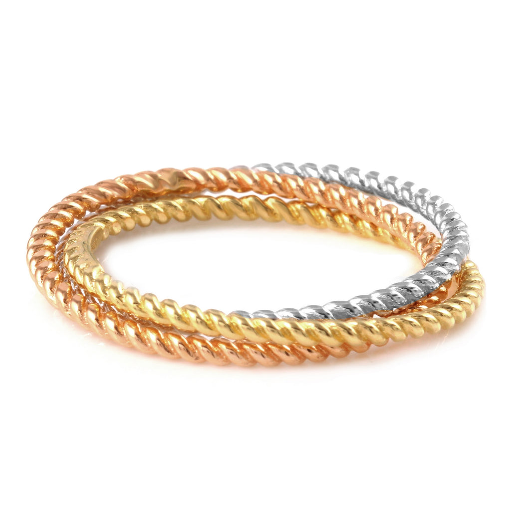 14k Tri-Color Gold Twisted Trio Stacking Ring, Size 7