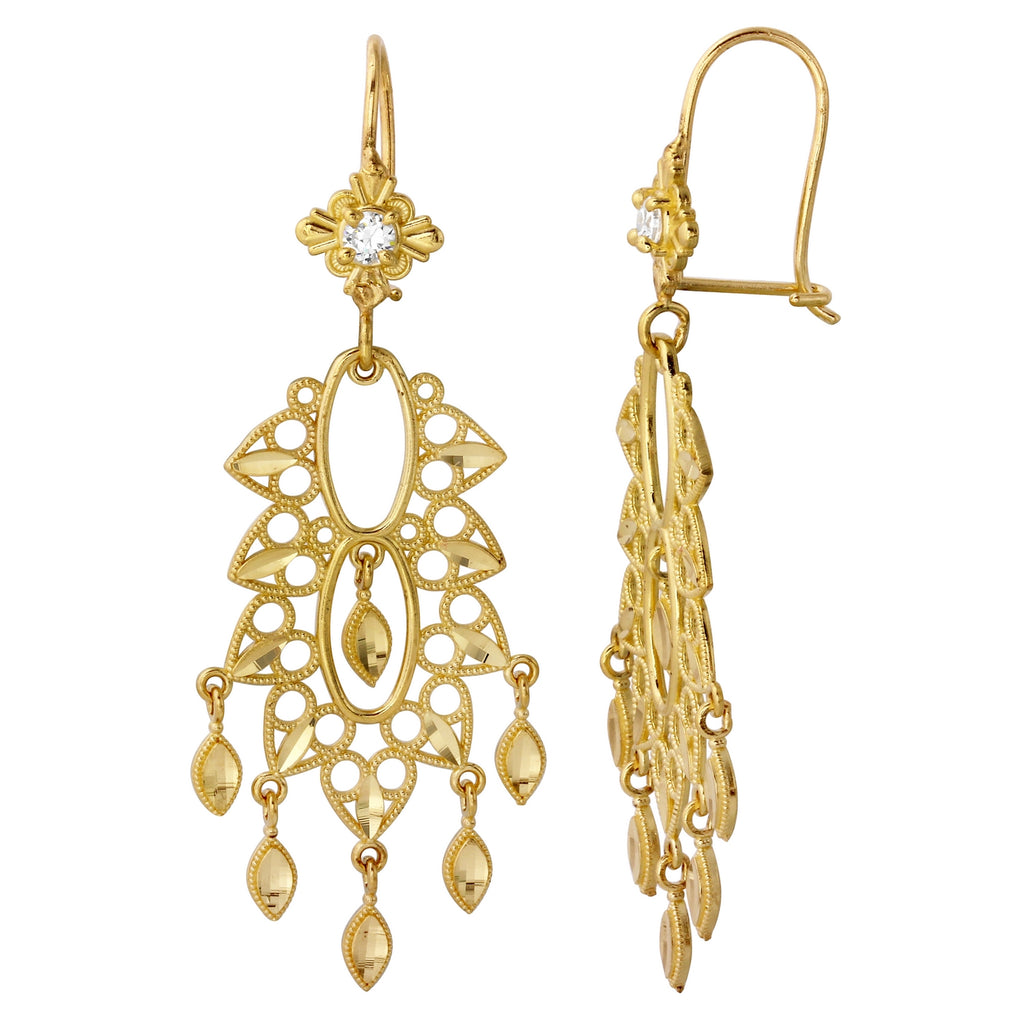 14k Yellow Gold Drop Chandelier Earrings (yellow) - Bee Jewels