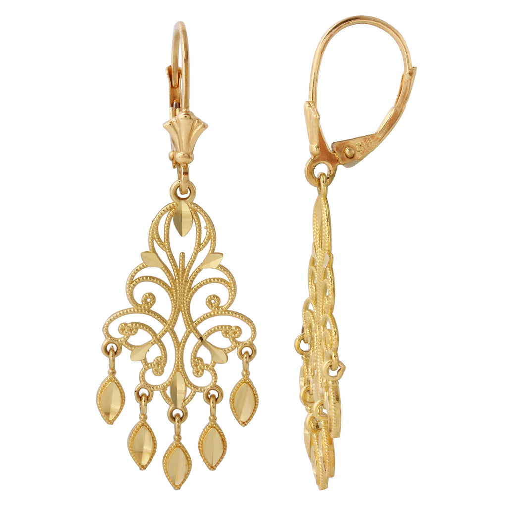 14k Yellow Gold Chandelier Earrings - Bee Jewels