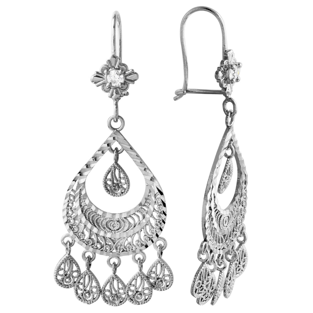 14k White Gold Flair Chandelier Earrings