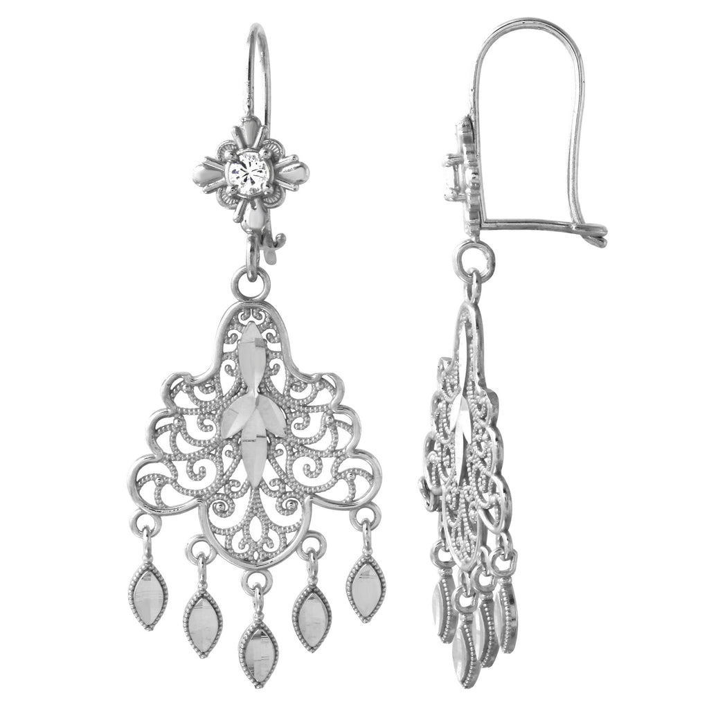 14k White Gold Chandelier Drop Earrings