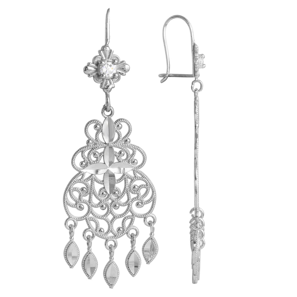 14k White Gold Fancy Chandelier Earrings
