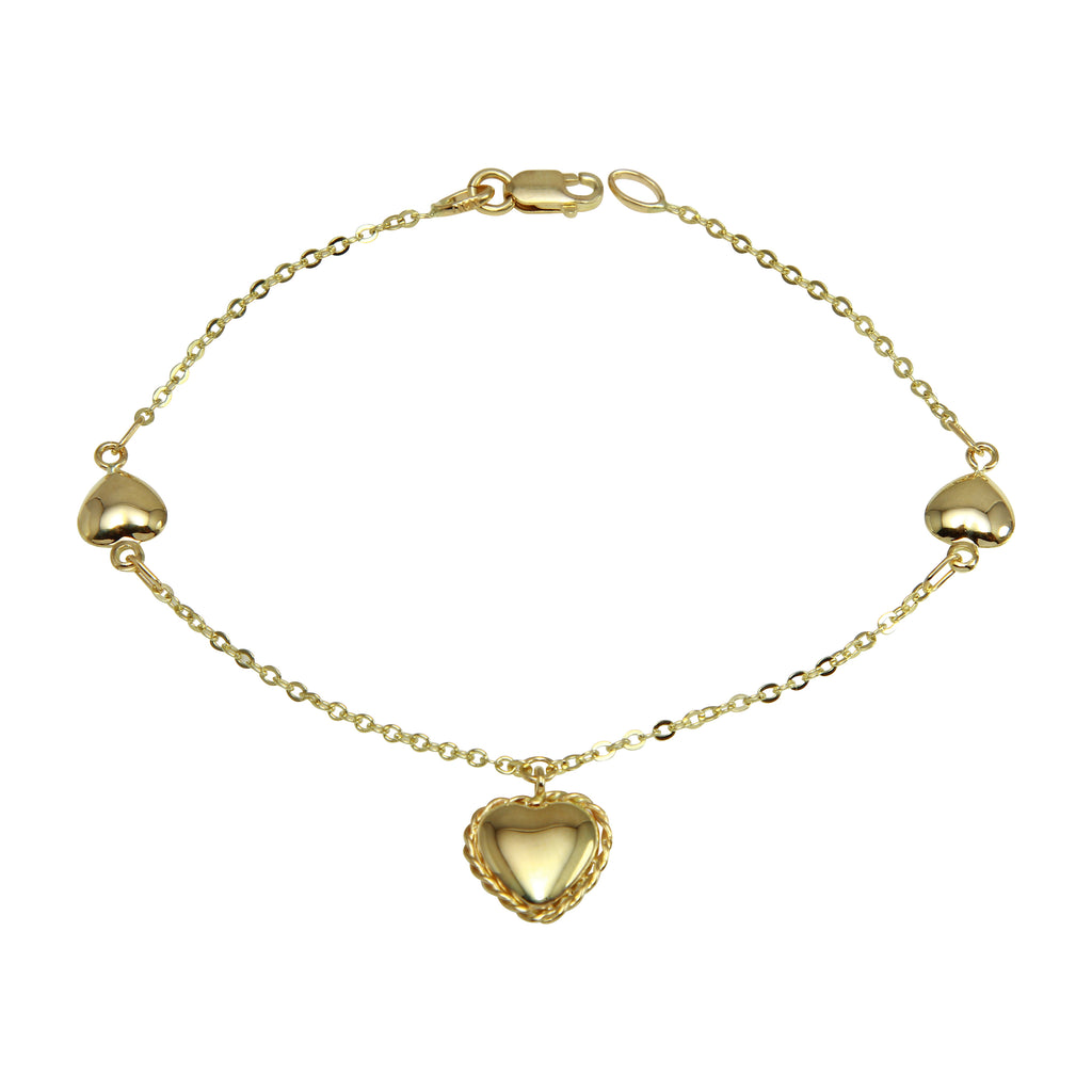 14k Yellow Gold Italian Graduated Heart Charms Bracelet, 7.25""