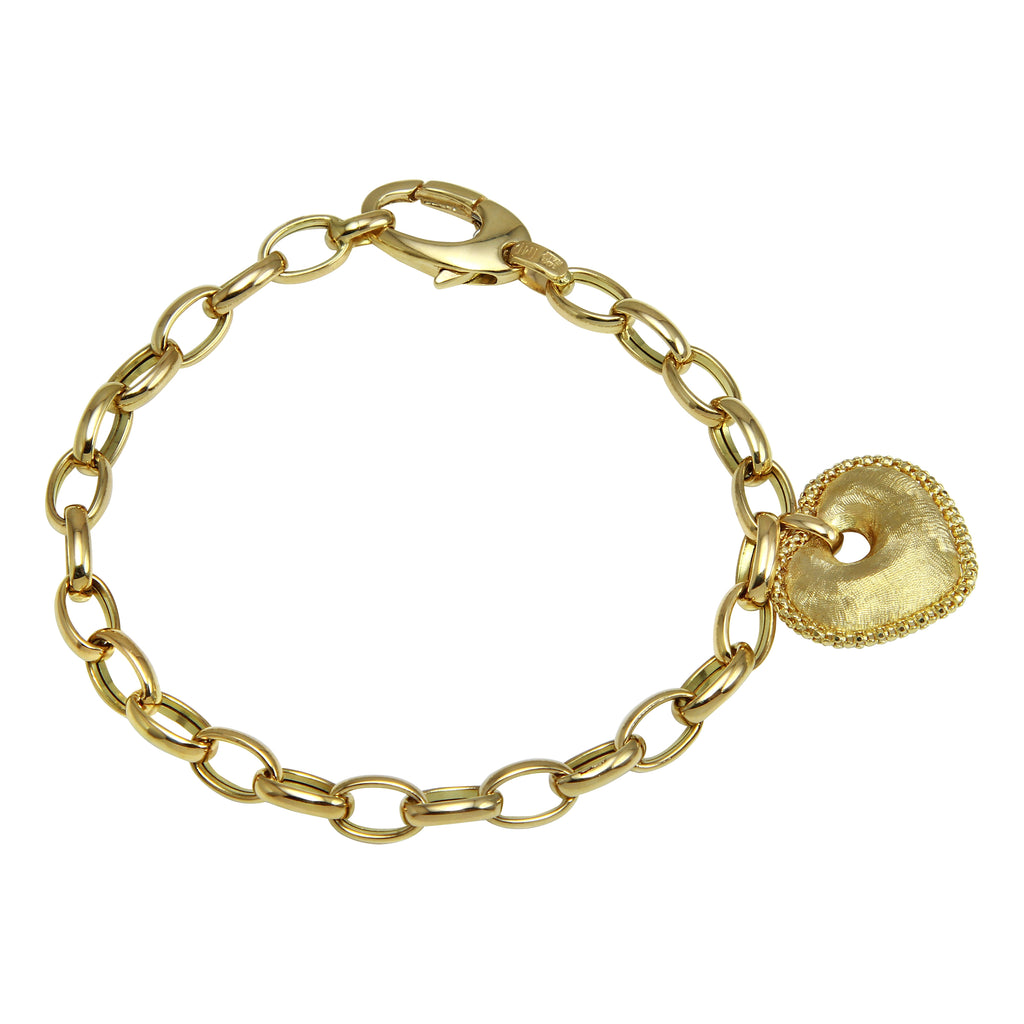 Women's 14k Yellow Gold Italian Detailed Heart Charm Bracelet, 7.25""