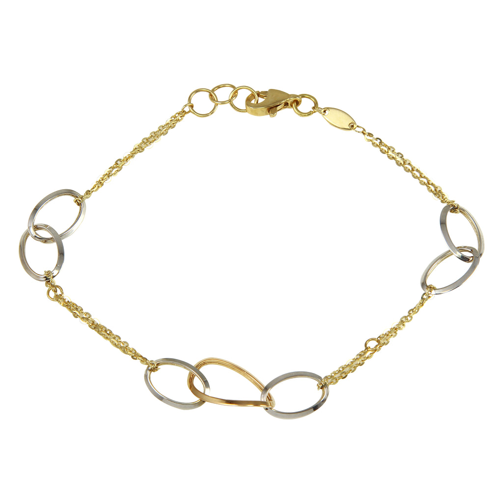 Women's 14k Tri-Color Gold Chain Link Hoop Charms Bracelet, 7.5""