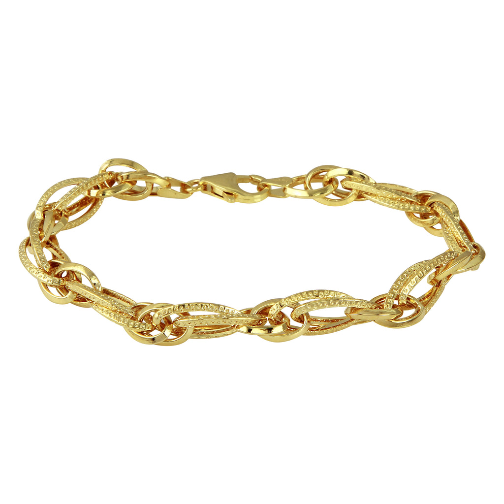 14k Yellow Gold Italian Messy Textured Links Bracelet, 7.5""