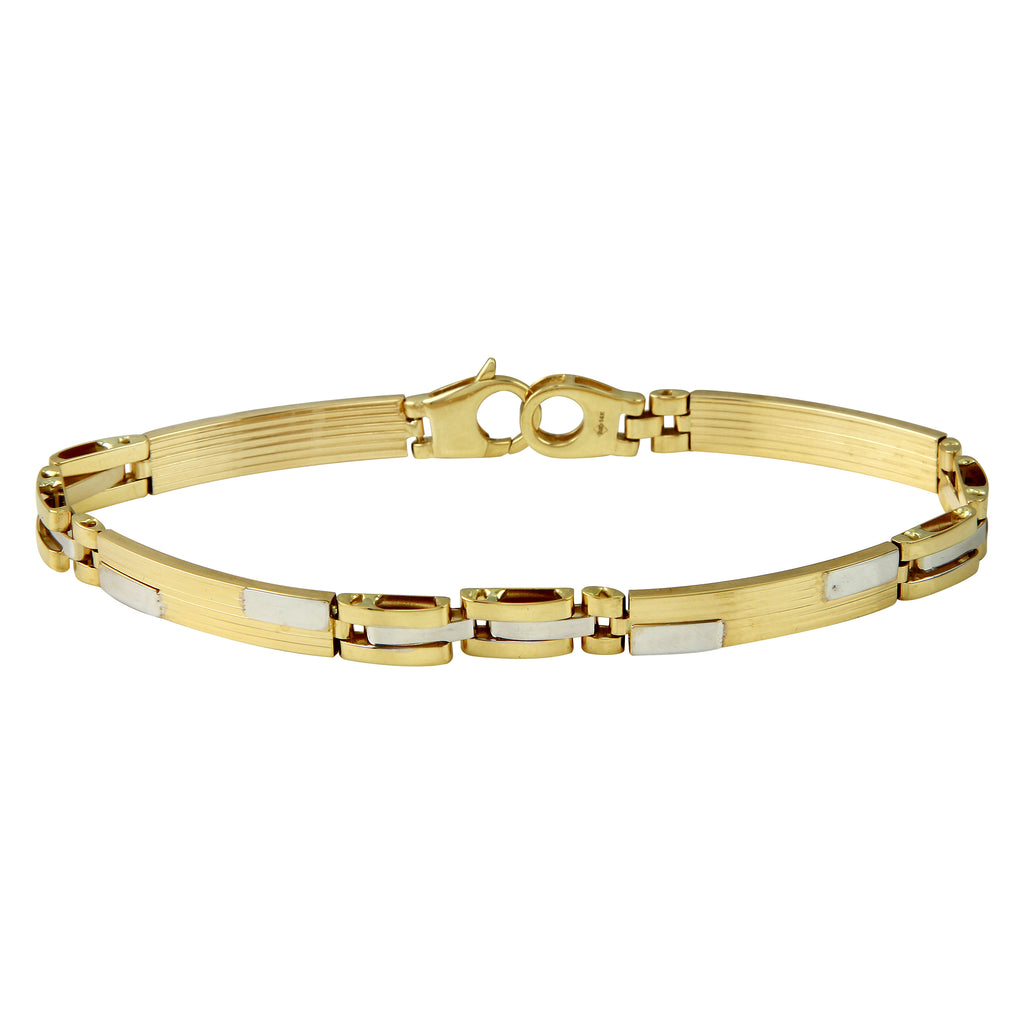 Men's 14k Two-Tone Gold Bar Tile Link Bracelet, 8""