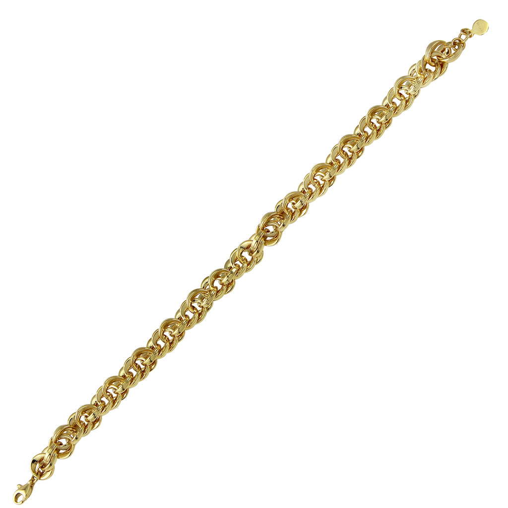 14k Yellow Gold Round Double Weaved Links Bracelet, 7.5""