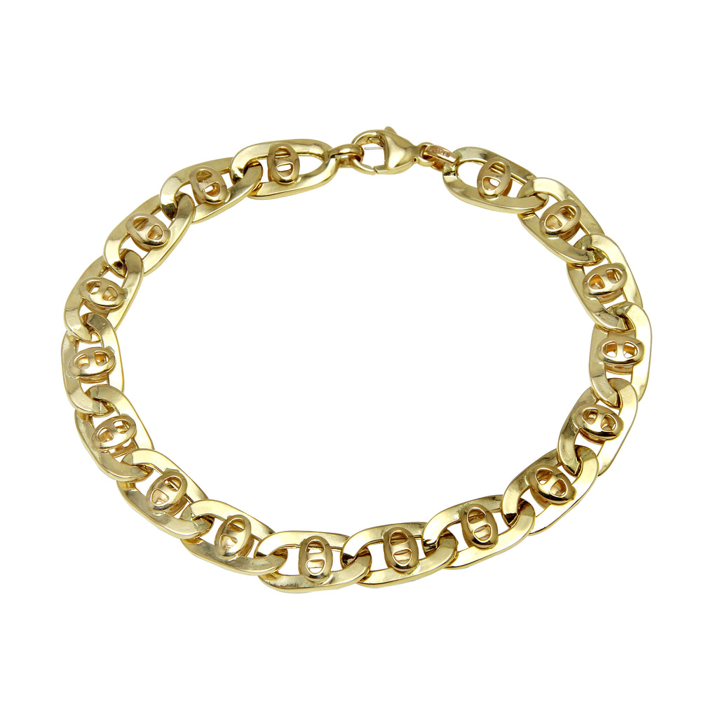 Men's 14k Yellow Gold Italian Industrial Mariner Link Bracelet, 8.5""