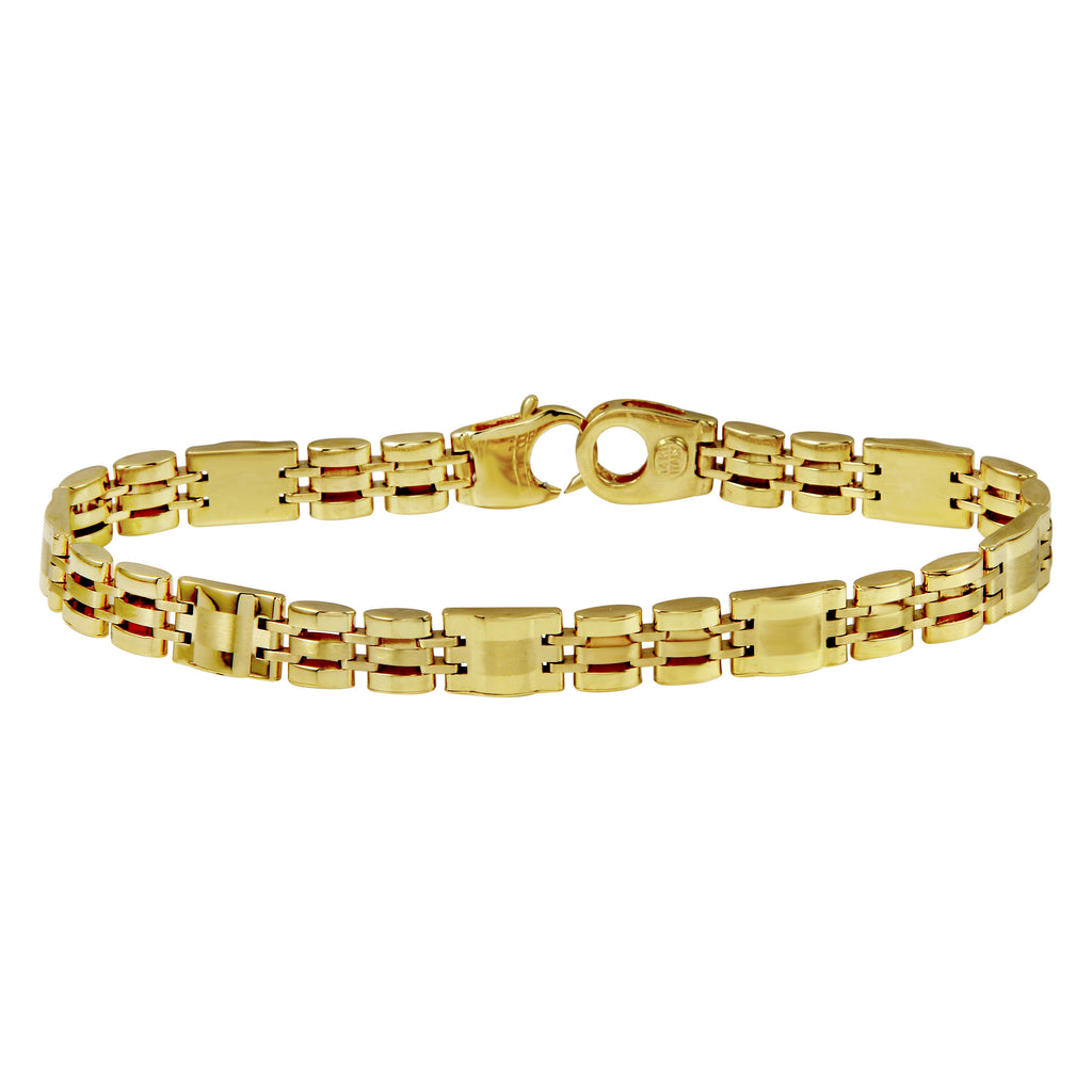 Men's 14k Yellow Gold Italian Industrial Classic Link Bracelet, 8.5""