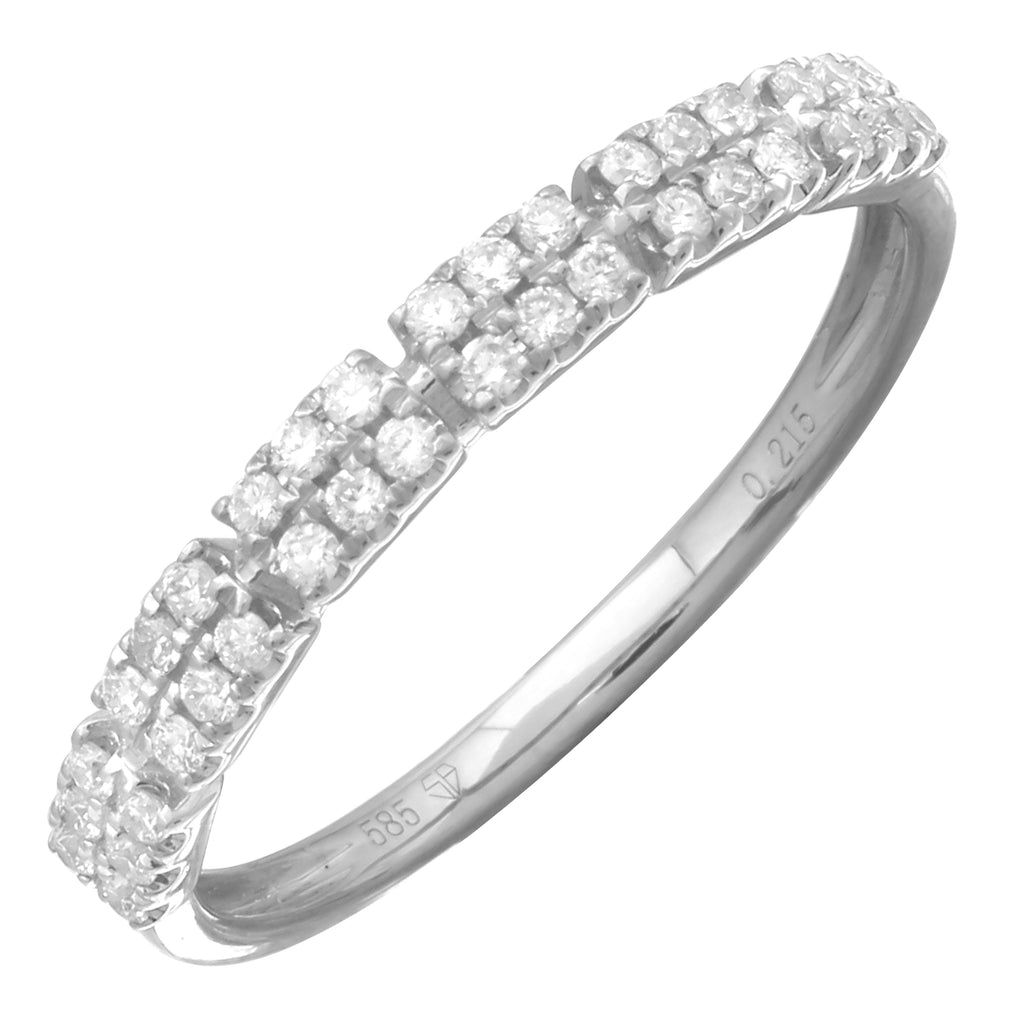 14k White Gold Diamond Accent Band Ring (1/5 cttw, H-I Color, I1-I2 Clarity)