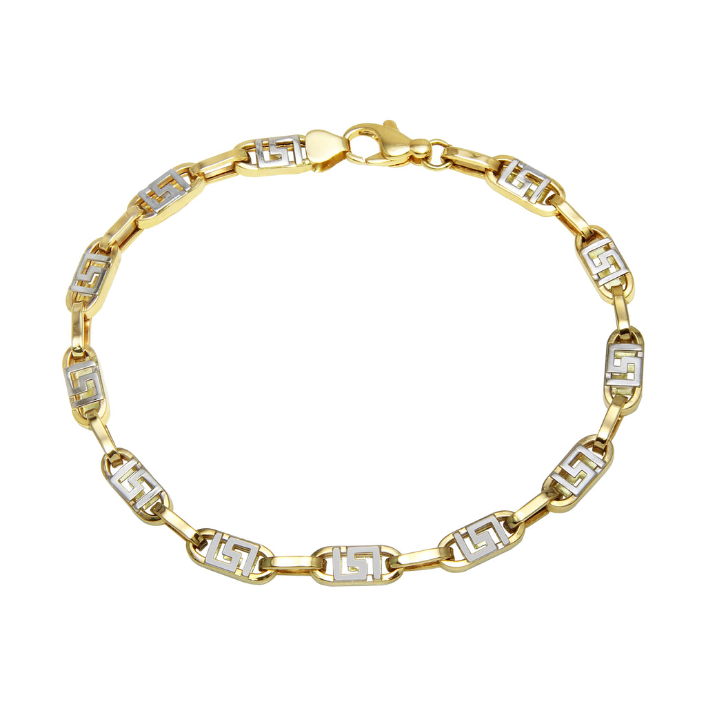 Men's 14k Two-Tone Gold 4.5mm Maze Link Bracelet, 8.25""