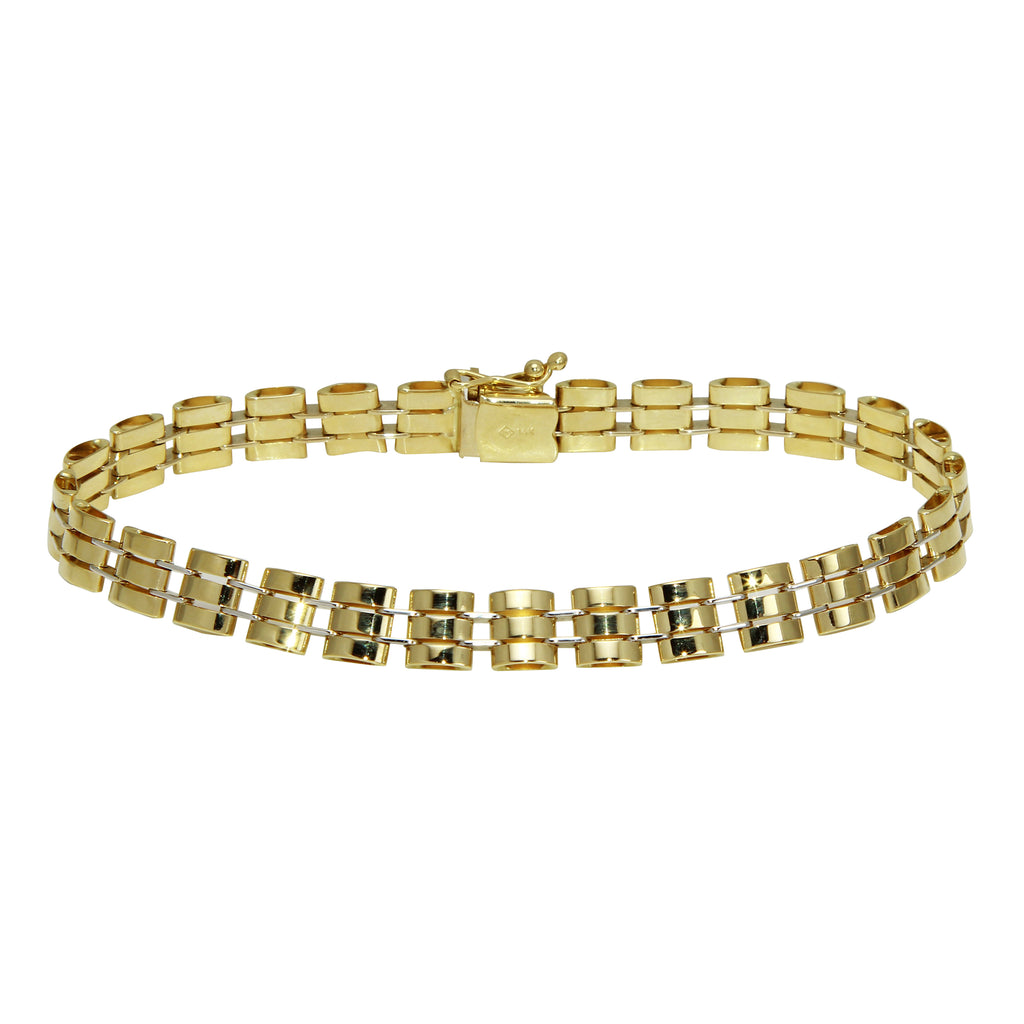 14k Two-Tone Gold Modern Classic Link Bracelet, 8""