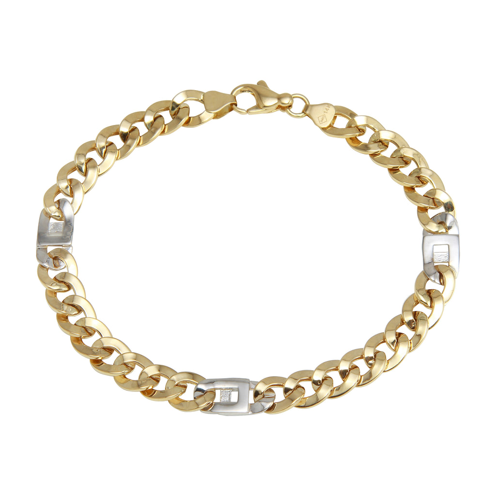 Women's 14k Two-Tone Gold Cuban Link Mariner Charm Bracelet, 8""