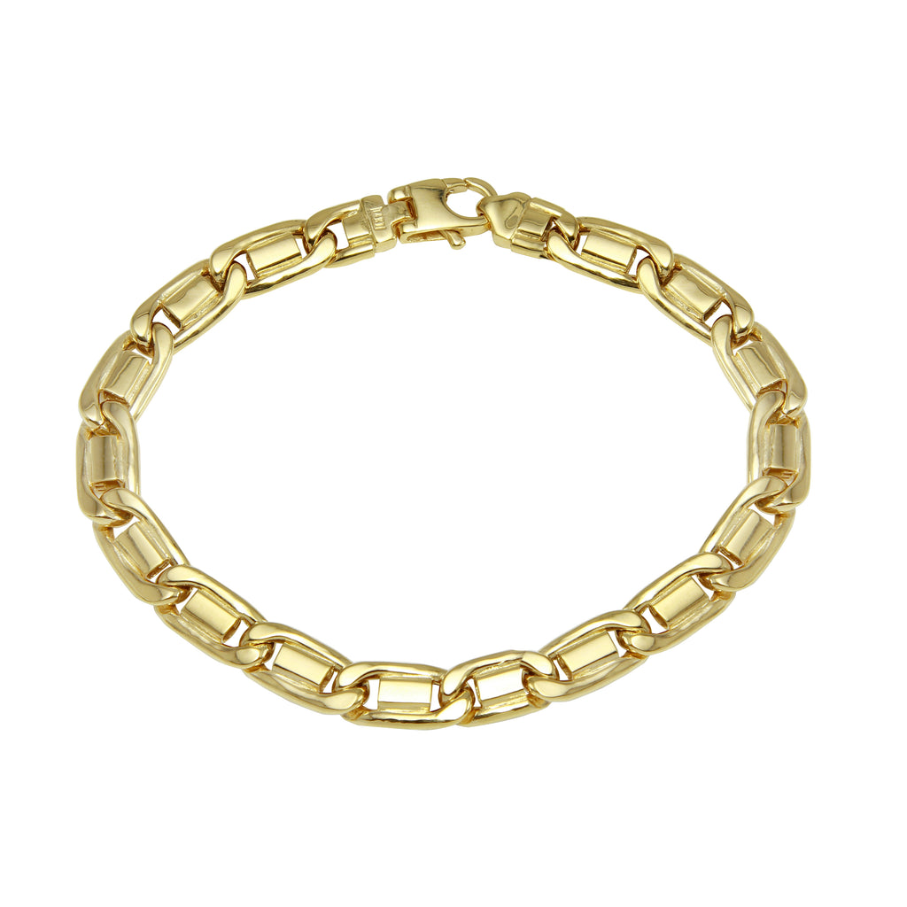 Men's 14k Yellow Gold Italian 7.3mm Polished Link Bracelet, 8.5""