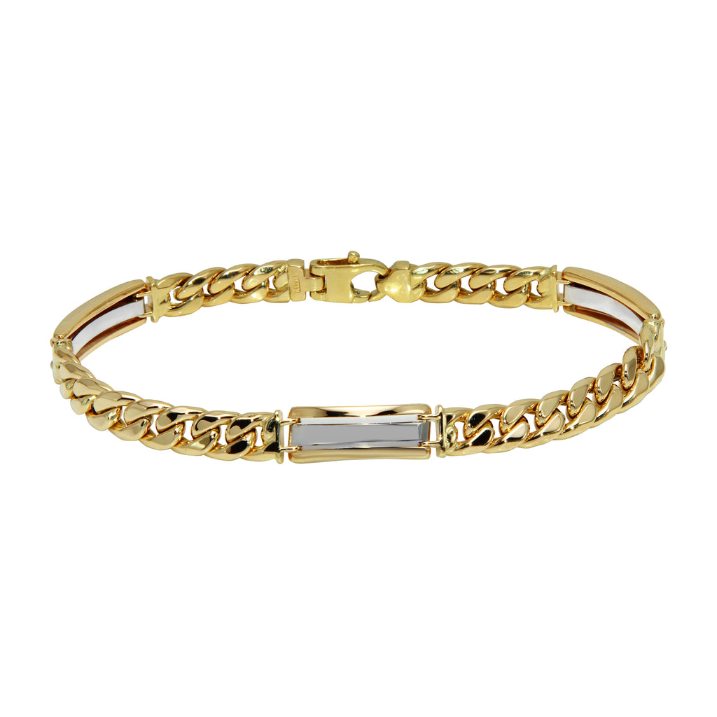 Men's 14k Two-Tone Gold Italian Industrial Shine Link Bracelet, 8.5""