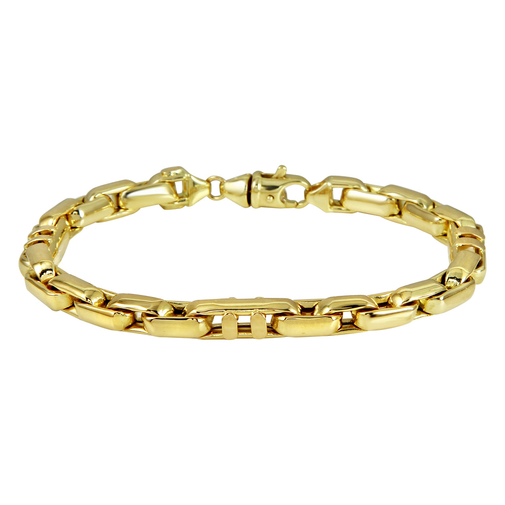 Men's 14k Yellow Gold Italian Smooth Squared Link Bracelet, 8.5""