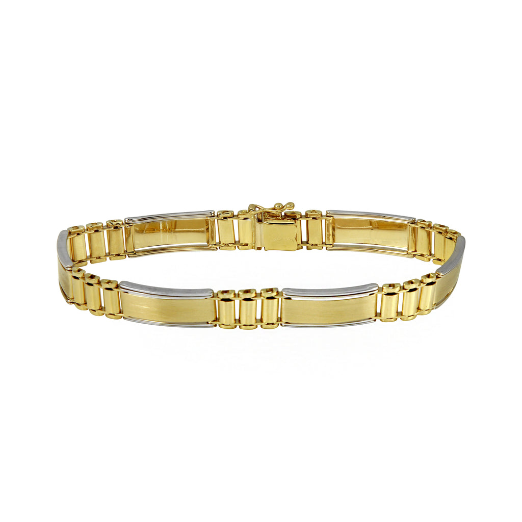 Women's Two-Tone Gold Classy Industrial Wide Link Bracelet, 8""