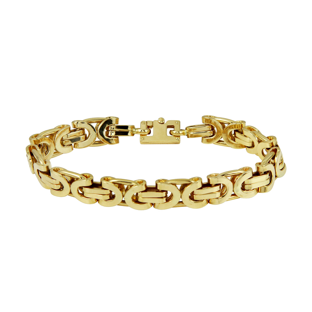 14k Yellow Gold 10mm Designer Cuban Link Bracelet, 8.5""