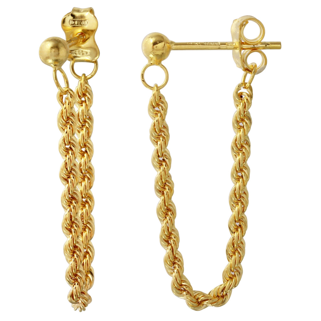 14k Yellow Gold Italian Dangling Rope Earrings