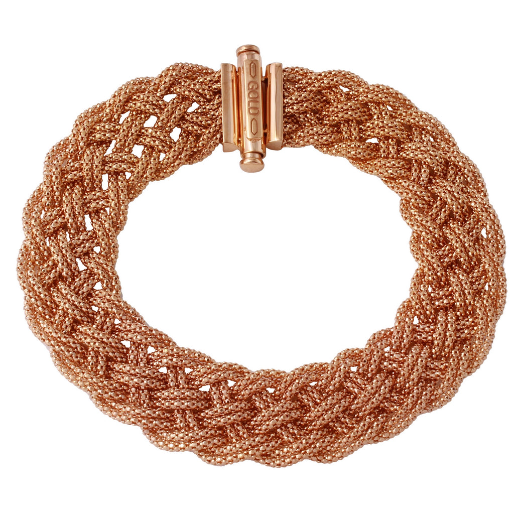 "14k Gold Italian Mesh Stretch Bracelet, 7.5"" - Bee Jewels"