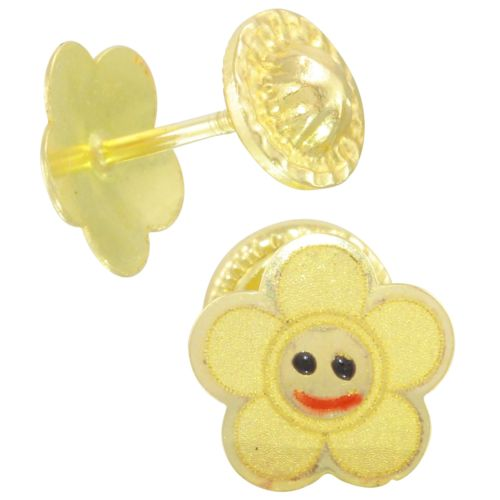 14k Yellow Gold Happy Sun Baby Stud Earrings